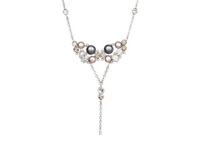 Náhrdelník Antoinette s českým křišťálem a voskovými perlemi Preciosa - šedý - 2346 19