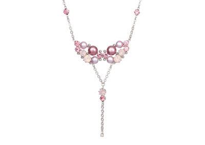 Náhrdelník Antoinette s českým křišťálem a voskovými perlemi Preciosa - růžový - 2346 69