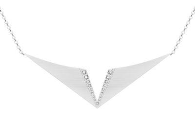 Náhrdelník Gemini z chirurgické oceli, křídla s kubickou zirkonií Preciosa - 7332 00