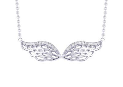 Náhrdelník stříbrný Angel Wings s kubickou zirkonii Preciosa - 5217 00