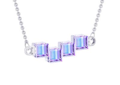 Náhrdelník stříbrný Crystal Cubes, kostky s křišťálem Preciosa, fialový - 6062 43