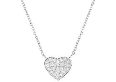 Náhrdelník z chirurgické oceli La Concha, srdce, stříbrný s kubickou zirkonií - 7420 00