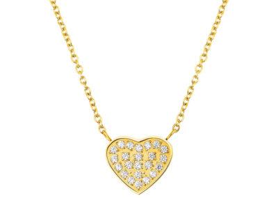 Náhrdelník z chirurgické oceli La Concha, srdce, zlatý s kubickou zirkonií - 7420Y00
