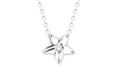 Náhrdelník z chirurgické oceli Virgo, hvězda s českým křišťálem Preciosa, krystal - 7342 00