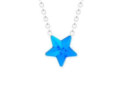 Náhrdelník z chirurgické oceli Virgo, hvězda s českým křišťálem Preciosa, modrý - 7342 67