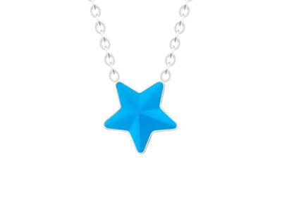 Náhrdelník z chirurgické oceli Virgo, hvězda s českým křišťálem Preciosa, modrý mat - 7342 77