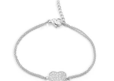 Náramek z chirurgické oceli La Concha, srdce, stříbrný s kubickou zirkonií - 7421 00