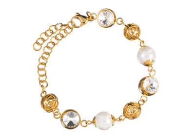 Náramek z chirurgické oceli Lotus Pearl s říčními perlami Preciosa - 7294Y00
