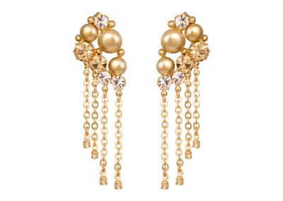 Náušnice Antoinette s českým křišťálem a voskovými perlemi Preciosa - zlaté - 2347Y61