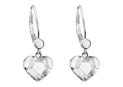 Náušnice stříbrné Amy, srdce s českým křišťálem Preciosa - 6101 00