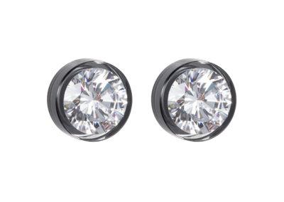 Náušnice stříbrné Brilliant Star s kubickou zirkonií Preciosa - chromové - 5196 40