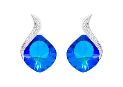 Náušnice stříbrné Butterfly Dream s českým křišťálem Preciosa, modré - 6296 46