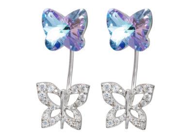 Náušnice stříbrné Butterfly Harmony, motýli z českého křišťálu Preciosa, velké - 6060 43