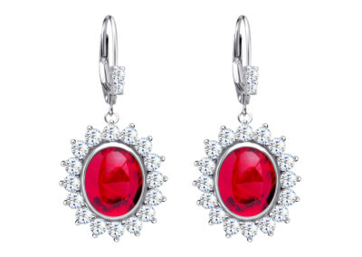 Náušnice stříbrné Camellia s českým křišťálem a kubickou zirkonií Preciosa, červené - 6107 63