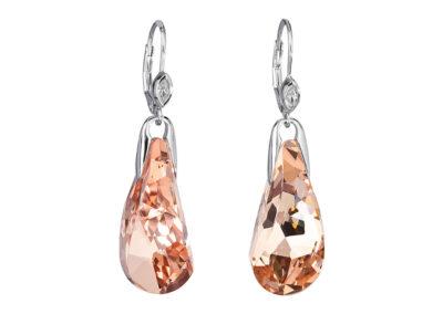Náušnice stříbrné Crystal Beauty s českým křišťálem Preciosa - oranžové - 6801 49