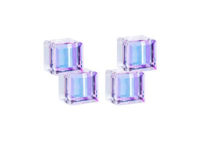 Náušnice stříbrné Crystal Cubes, kostky s křišťálem Preciosa, fialové - 6063 43