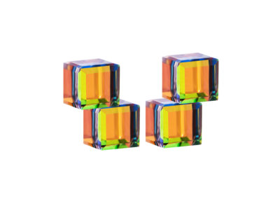 Náušnice stříbrné Crystal Cubes, kostky s křišťálem Preciosa, kombi - 6063 41