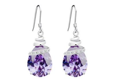 Náušnice stříbrné Elegant s kubickou zirkonií Preciosa - fialové - 5027 56