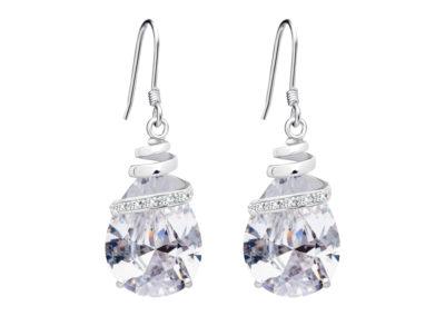 Náušnice stříbrné Elegant s kubickou zirkonií Preciosa - krystal - 5027 00
