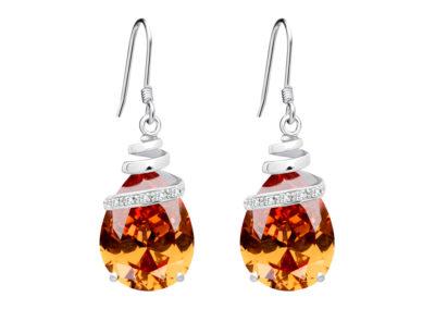 Náušnice stříbrné Elegant s kubickou zirkonií Preciosa - oranžové - 5027 61