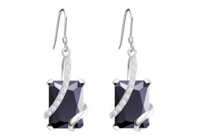 Náušnice stříbrné Graceful s kubickou zirkonií Preciosa - černé - 5029 20
