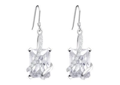 Náušnice stříbrné Graceful s kubickou zirkonií Preciosa - bílé - 5029 00
