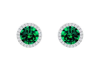 Náušnice stříbrné Lynx s kubickou zirkonií Preciosa, zelené - 5269 66