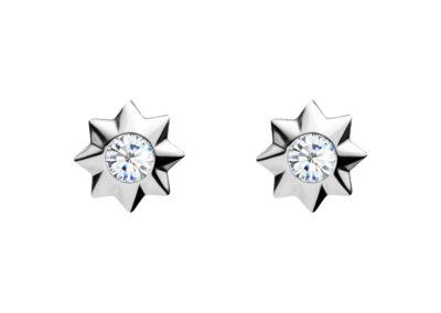 Náušnice stříbrné Orion s kubickou zirkonií Preciosa, hvězdička - 5249 00