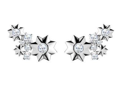 Náušnice stříbrné Orion s kubickou zirkonií Preciosa, hvězdičky - 5246 00