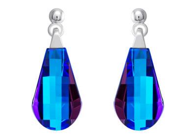Náušnice stříbrné Pleione s českým křišťálem Preciosa - modré - 6243 46