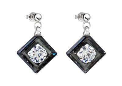 Náušnice stříbrné Precious s kubickou zirkonií Preciosa - černé - 5117 40