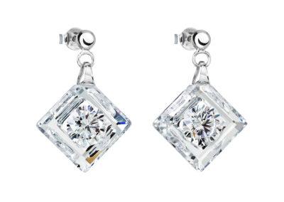 Náušnice stříbrné Precious s kubickou zirkonií Preciosa - krystal - 5117 00