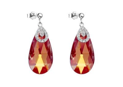 Náušnice stříbrné Ruby Glow s českým křišťálem Preciosa - 6787 63