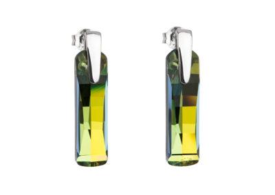 Náušnice stříbrné Shining Strip s českým křišťálem Preciosa - zelené - 6724 97
