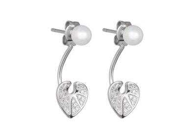 Náušnice stříbrné White Water Lily s pravou říční perlou Preciosa - 5193 00