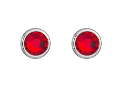 Náušnice z chirurgické oceli Carlyn s českým křišťálem Preciosa - červené - 7235 57