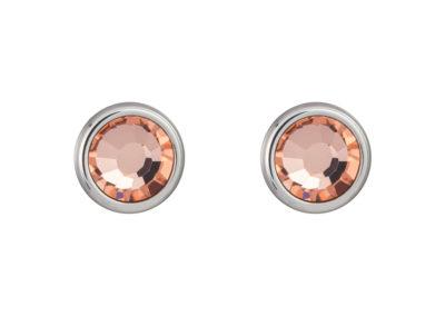 Náušnice z chirurgické oceli Carlyn s českým křišťálem Preciosa - apricot - 7235 49