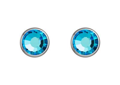 Náušnice z chirurgické oceli Carlyn s českým křišťálem Preciosa - modré - 7235 46