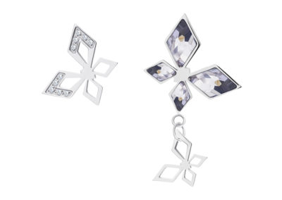 Náušnice z chirurgické oceli Hallie, motýli s českým křišťálem Preciosa - 7321 00