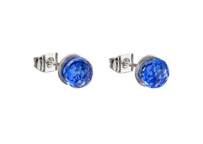 Náušnice z chirurgické oceli Ivy s českým křišťálem Preciosa - modré - 7136 68