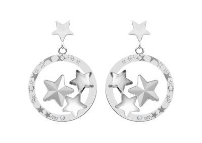 Náušnice z chirurgické oceli Virgo, hvězdy s českým křišťálem Preciosa, krystal - 7341 10