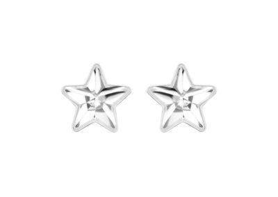 Náušnice z chirurgické oceli Virgo, hvězdy s českým křišťálem Preciosa, malé, krystal - 7343 00