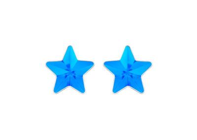 Náušnice z chirurgické oceli Virgo, hvězdy s českým křišťálem Preciosa, malé, modré - 7343 67