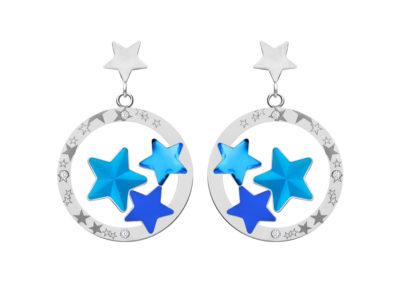 Náušnice z chirurgické oceli Virgo, hvězdy s českým křišťálem Preciosa, modré - 7341 67