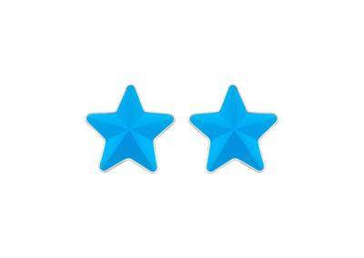 Náušnice z chirurgické oceli Virgo, hvězdy s českým křišťálem Preciosa, modré mat - 7343 77