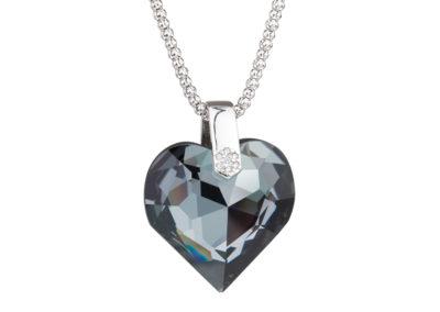 Přívěsek stříbrný Élan, srdce s křišťálem Preciosa, chrom, černý - 6631 40