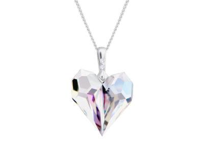 Přívěsek stříbrný Amour, srdce z českého křišťálu - 6422 42