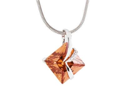 Přívěsek stříbrný Attractive s kubickou zirkonií Preciosa - oranžový - 5017 61