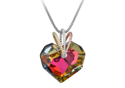Přívěsek stříbrný Chérissant, srdce s českým křišťálem Preciosa, kombi - 6798 45
