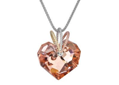 Přívěsek stříbrný Chérissant, srdce s českým křišťálem Preciosa, oranžový - 6798 49
